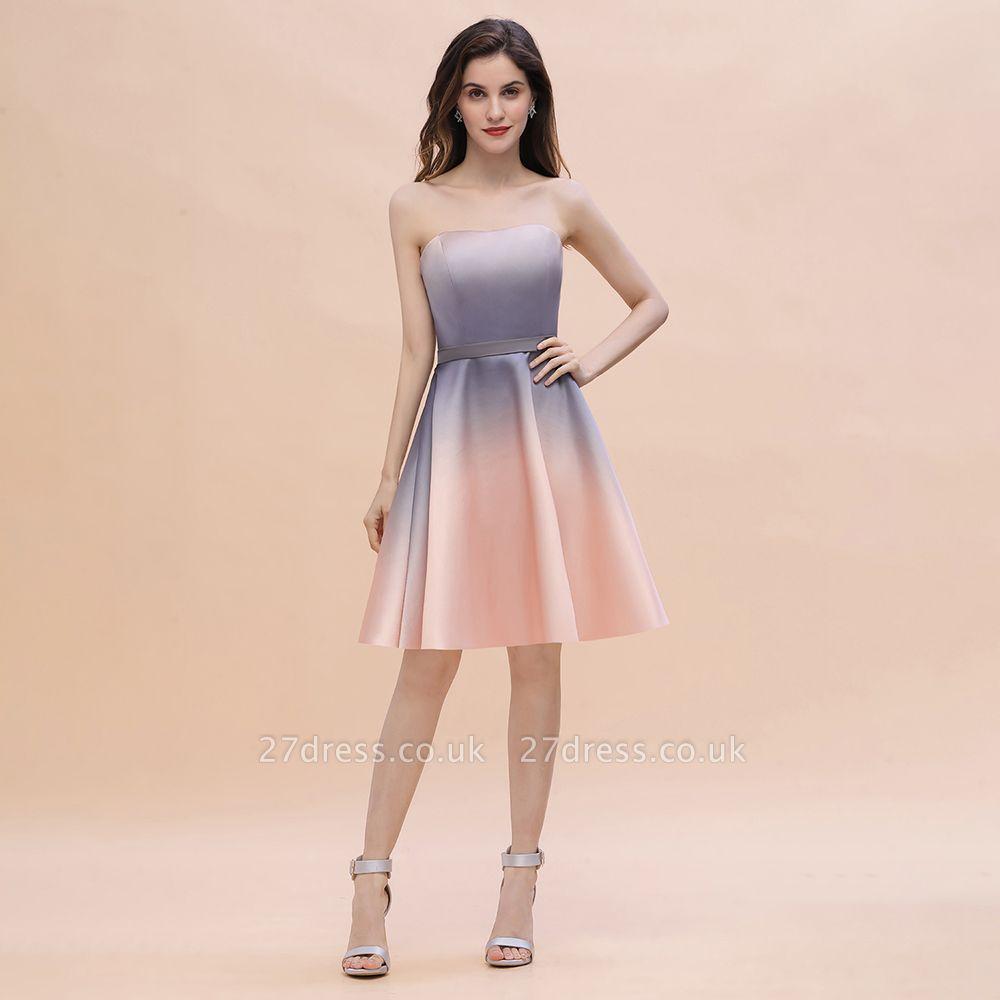 Gradient Sleveless A-lin Mini Dress Elegant Strapless short Evening Homecoming Dress