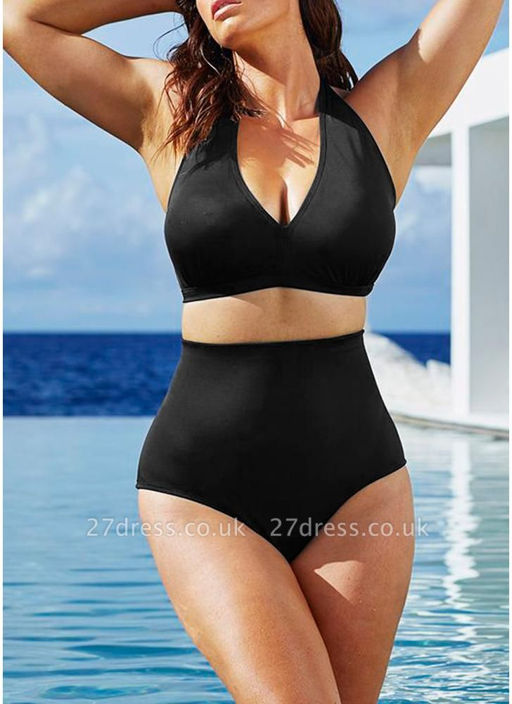Plus Size Halter High Waist Push Up Sexy Bikini