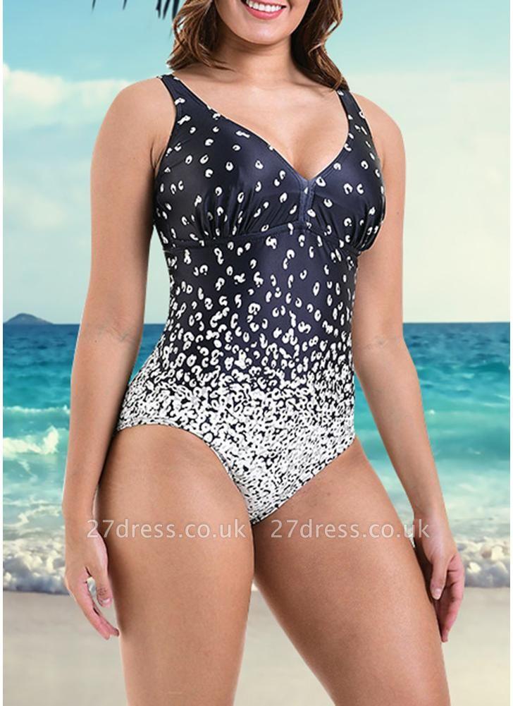 Women Plus Size One Piece Swimsuit Floral Print Monokini  Swimwear