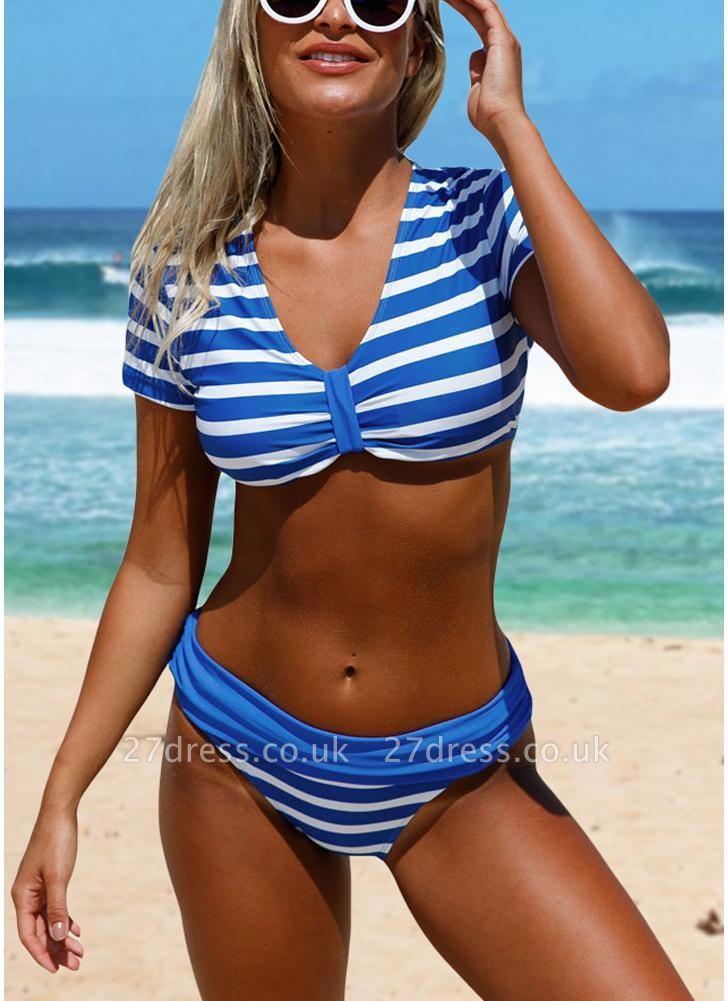 Women Swimwear Striped Print V-Neck Short Sleeves Sexy Bikini Set Bathing Suit Swimsuits