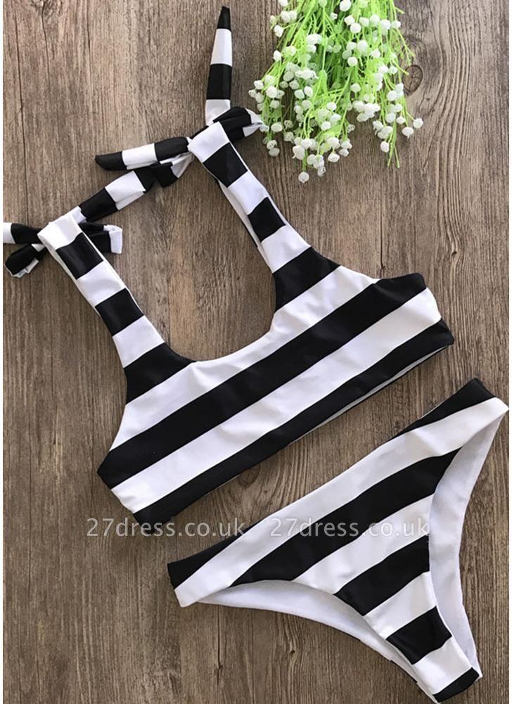 Striped Print Bow Top Bottom Sexy Bikini Set