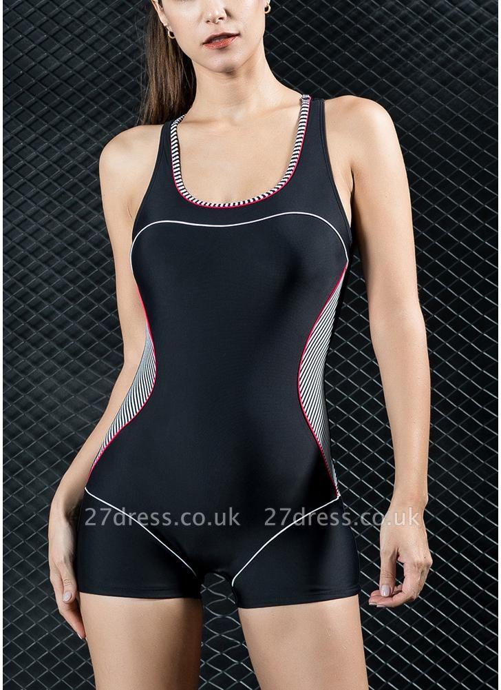 Women Sports One Piece Swimsuit  Shorts Splice Racing Training Swimwear