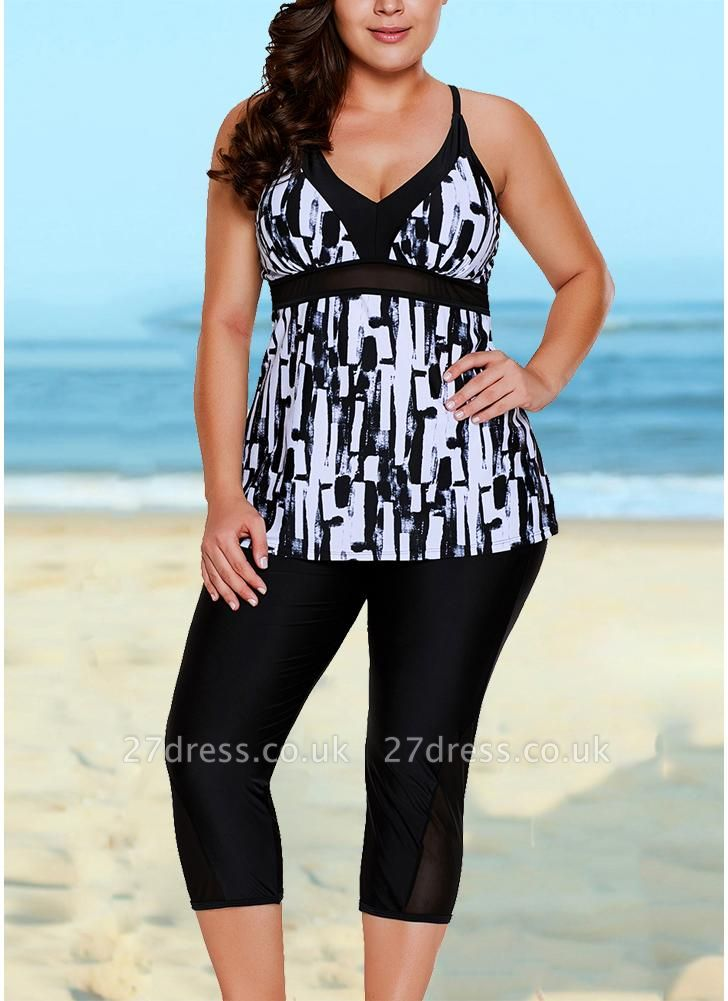 Vintage Women Tankini Capris Deep V Printed Cross Over Backless Swimsuit