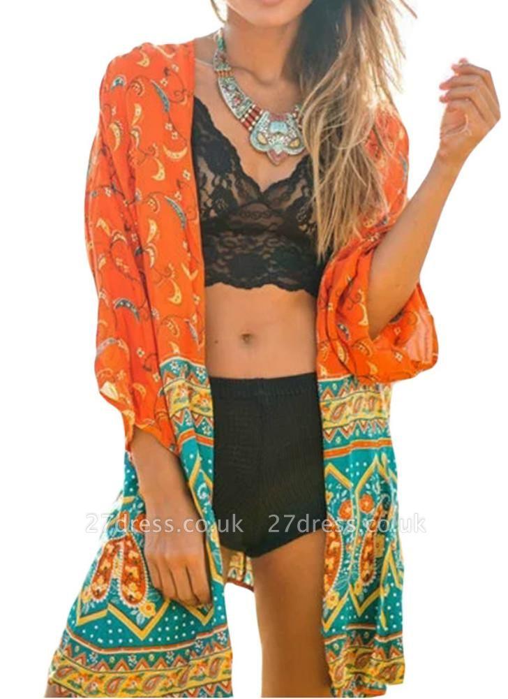 Chiffon Open Front Geometric Print 3/4 Batwing Sleeve Thin Kimono