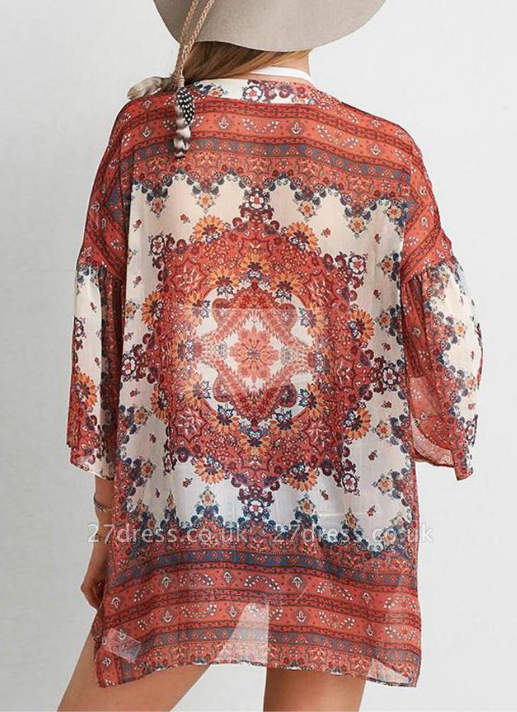 Boho Chiffon Floral Print Front Open Women's Loose Kimono
