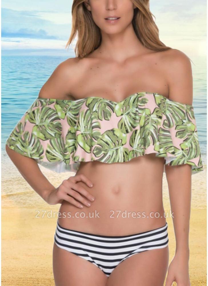 Off the Shoulder Ruffles Striped Leaf Print Bathing Sexy Bikini Set