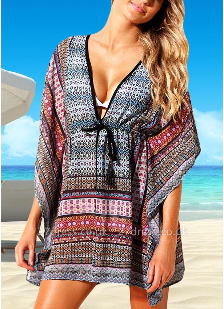 Women Beach Cover Up Dress Bohemian Geometric Print V-Neck Loose