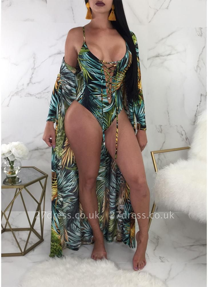 Printed Lace Up Swimsuit Cover-Up SO1550