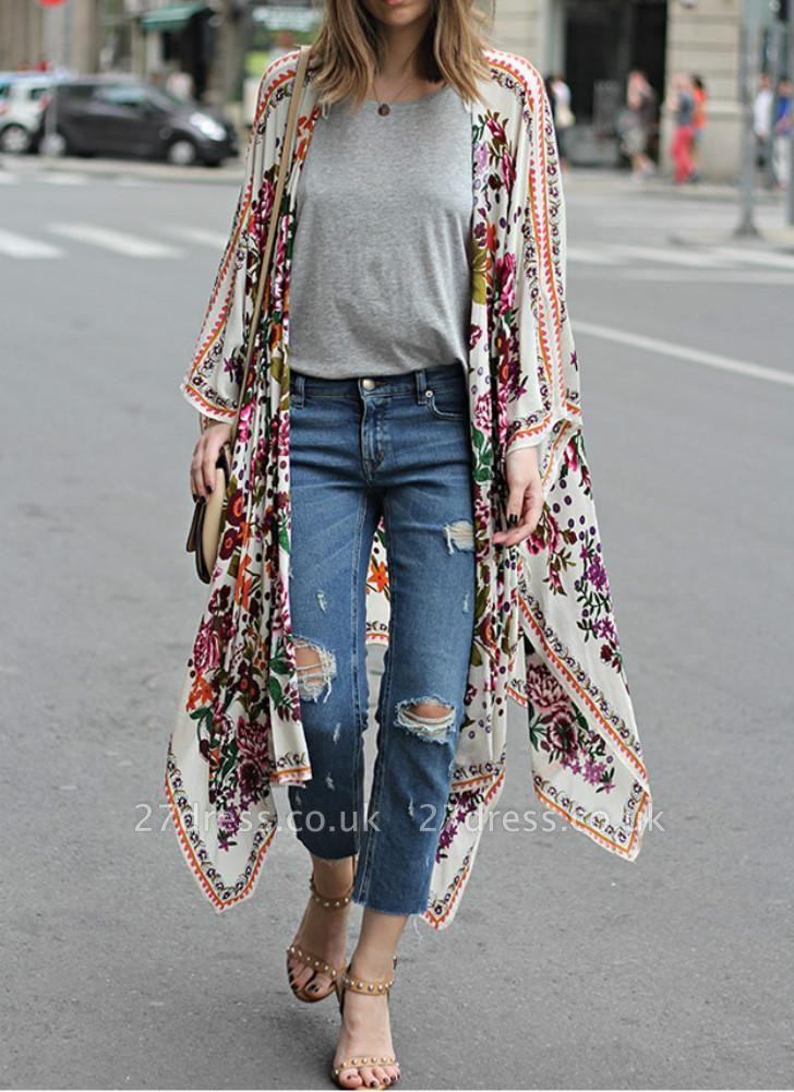size Chiffon Floral Print Asymmetric Loose Long Kimono
