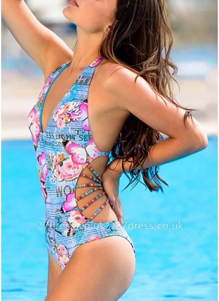 Women One Piece Swimsuit Deep V Halter Floral Letters Butterfly Print Bandage Cut Out Backless  Monokini