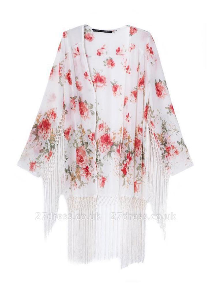 Fashion Floral Print Tassel Long Sleeve Chiffon Kimono
