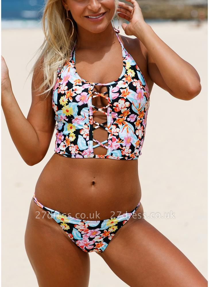 Floral Halter Lace Up Back Low Waist Strappy Sexy Bikini Set