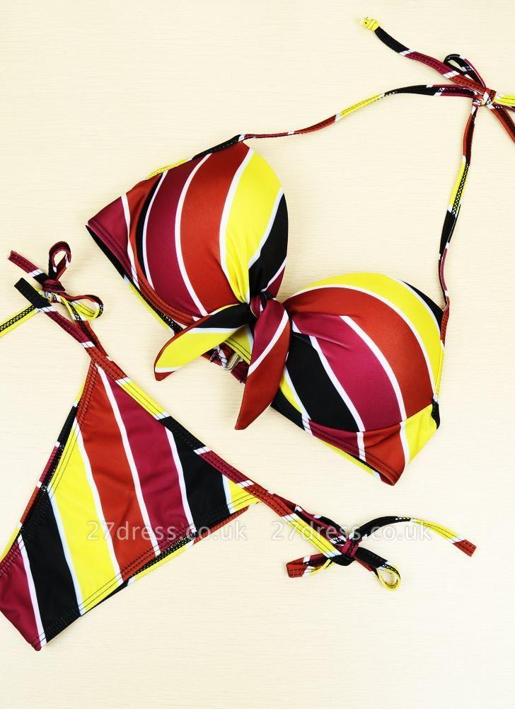 Contrast Stripe Underwire Padded Cup Tie Sexy Bikini Set Swimsuit