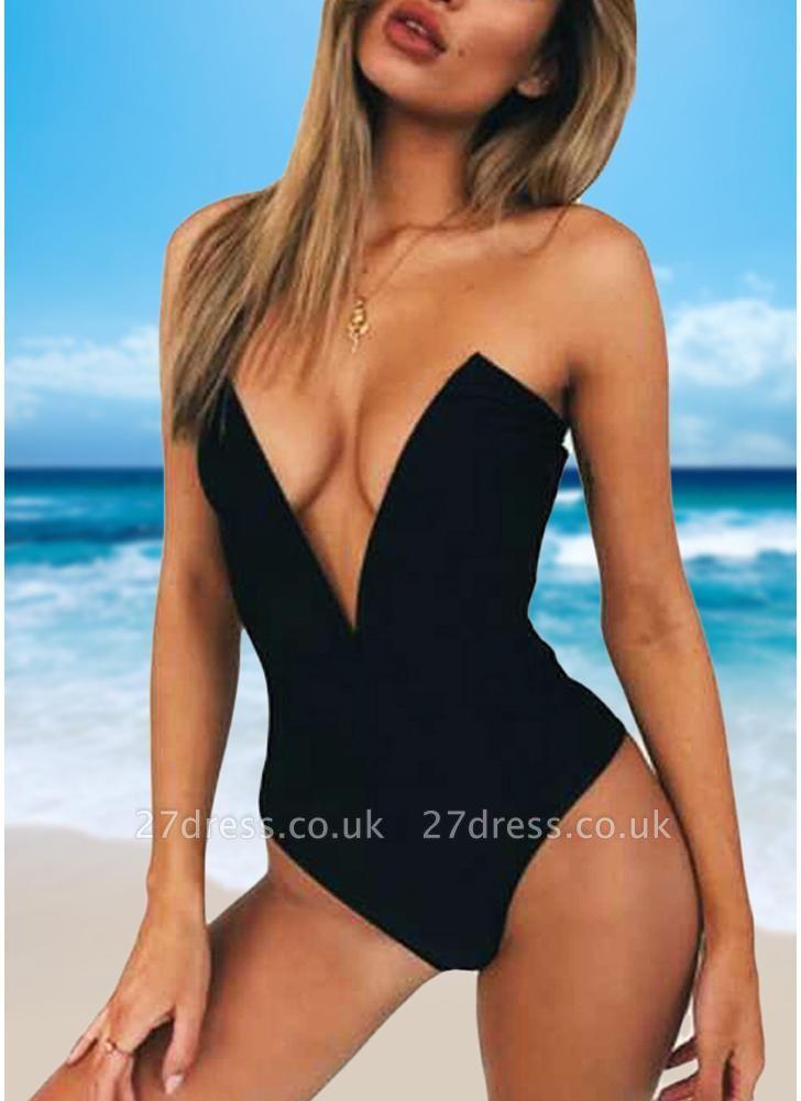 Women One Piece Sexy Bikini Monokini Swimsuits Deep V-Neck Backless Solid Swimwear Beach Wear