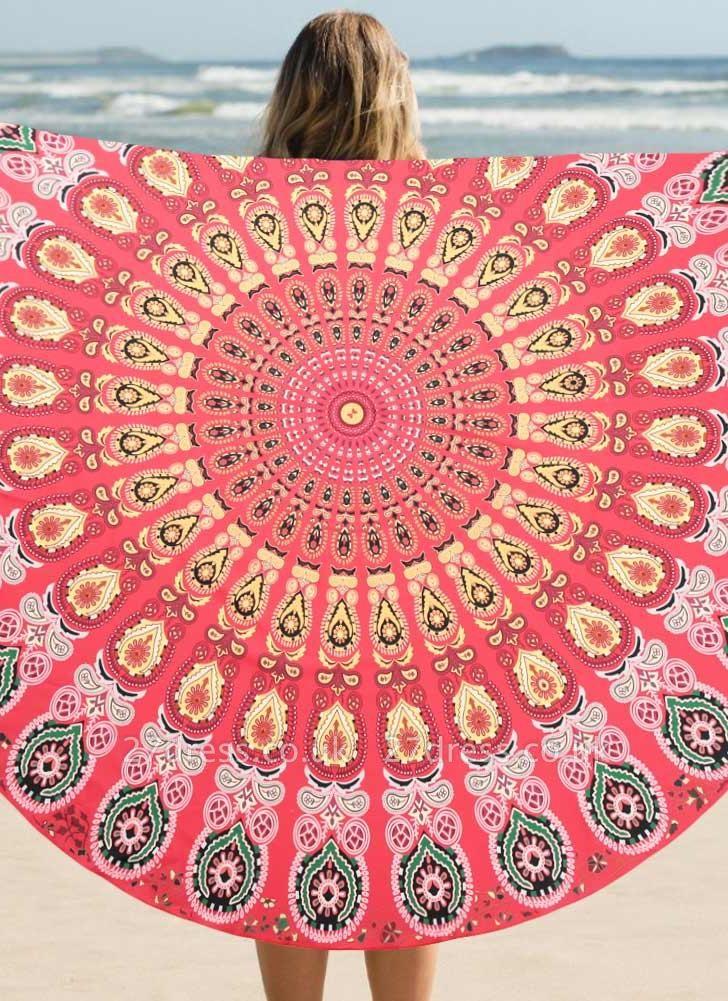 Round Beach Towel Bohemian Printed Tapestry Throw