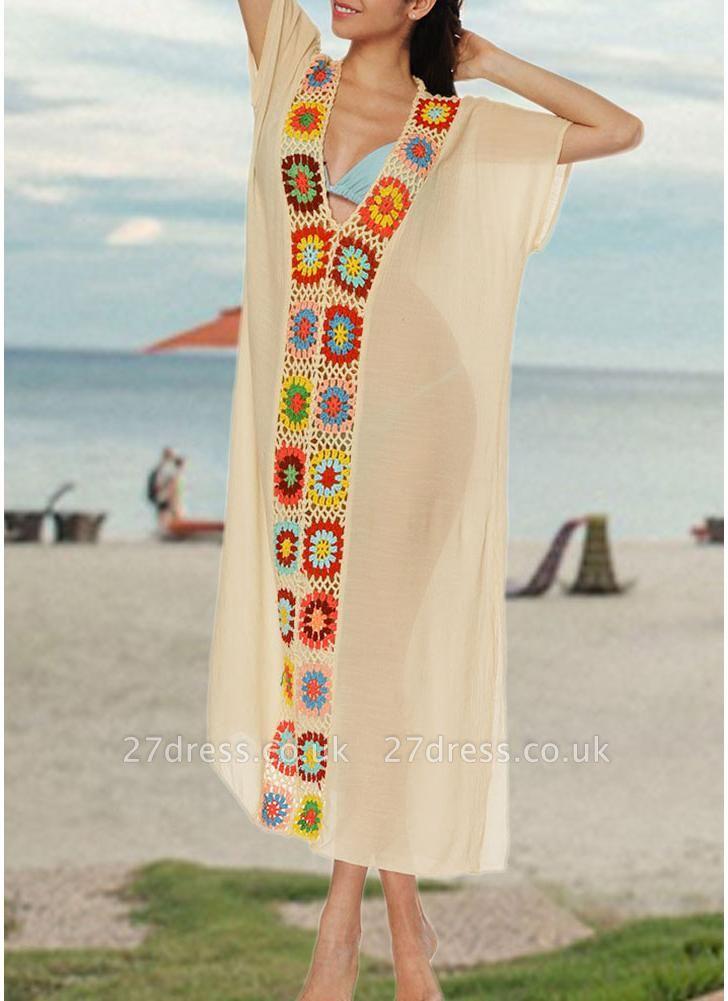 size Crochet Knit Deep V-Neck Short Sleeve Side Split Beach Cover Up