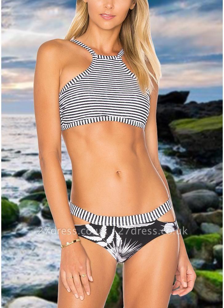 Women Brazilian Sexy Bikini Set Swimsuit Stripe Printed  Cut Out Bandage Padded Beach Wear Swimwear