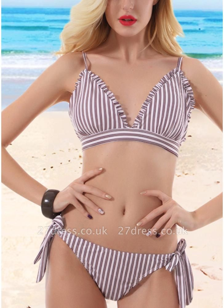 Women Striped Wire Free Padded Cup Low Tie Waist Thong Biquini Sexy Bikini Set