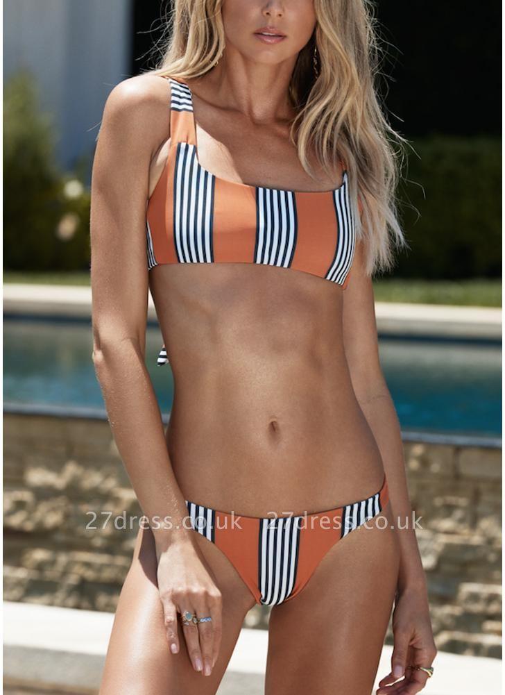 Striped Back Knot Sexy Bikini Set