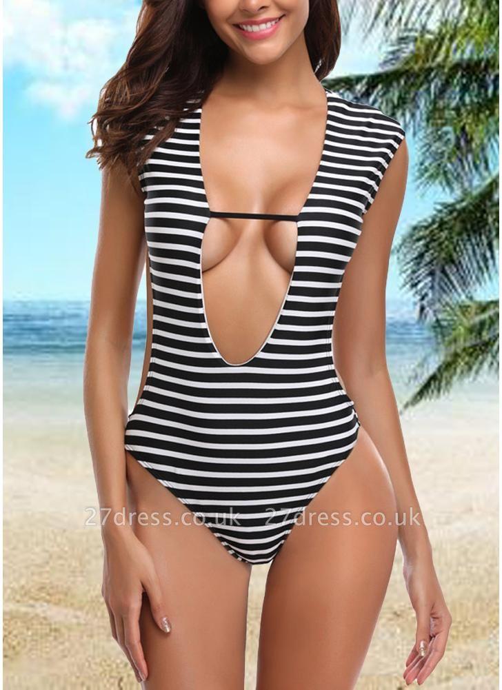 Women One-piece Swimsuit Striped Cutout Back  Swimwear