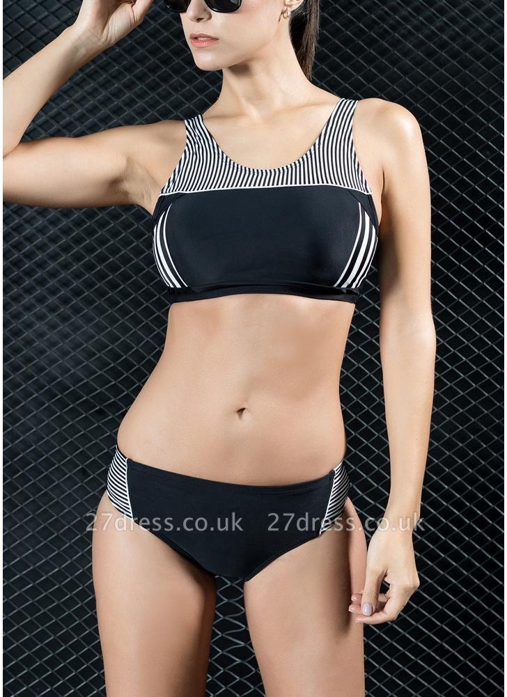 Women Sporty Sexy Bikini Set Striped Cropped Tank Top Two Pieces Swimsuit