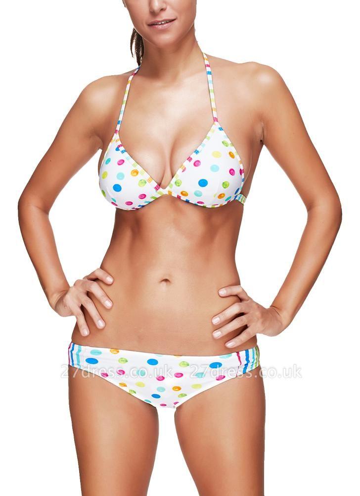 Women Sexy Bikini Set Dot Striped Print Punge V Neck Hater Padded Wireess Two Piece Swimsuit
