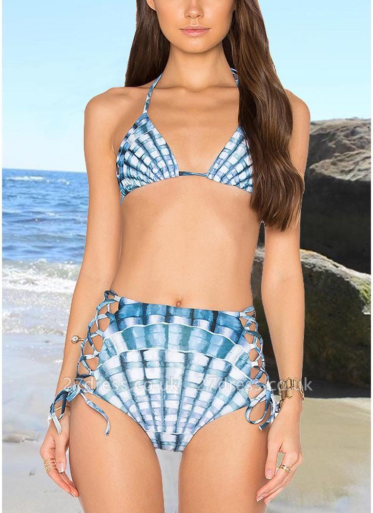 Women Two Piece Sexy Bikini Set Halter Plaid Print Padded Bandage Criss Over High Waist  Swimwear