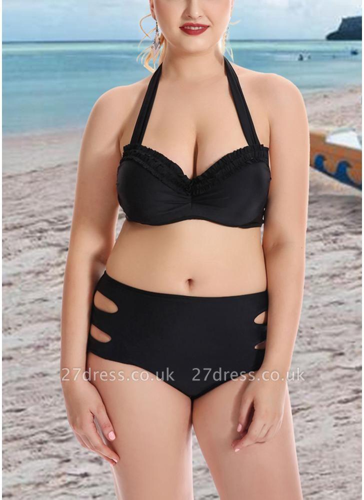 Plus Size Solid Halter Push Up Underwire Sexy Bikini Set
