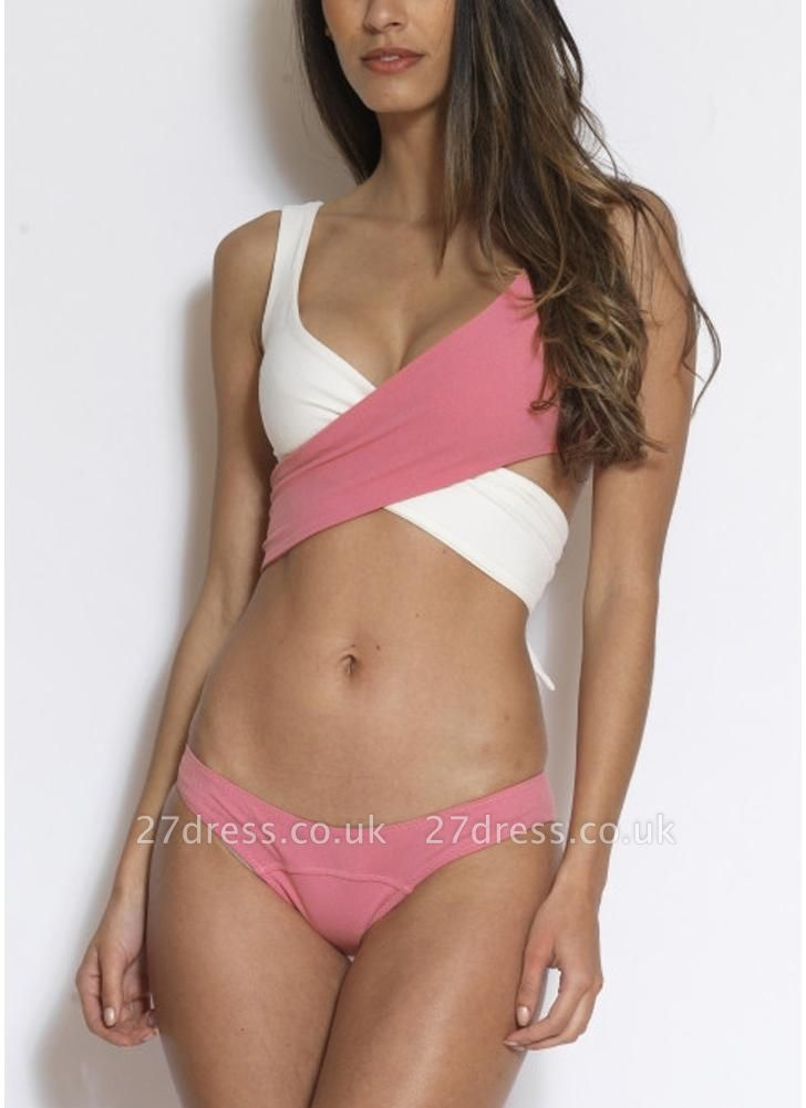 Contrast Color Patchwork Wrap Front Tied Sexy Bikini Set
