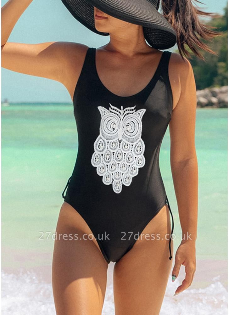 Crochet Owl Pattern Beading Backless Sleeveless One Piece Swimsuit