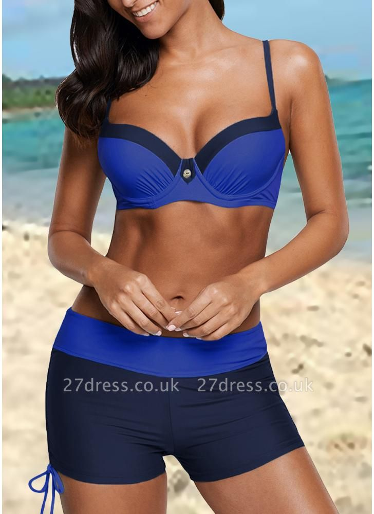 Color Block Patches Underwire Push Up Padded Sexy Bikini