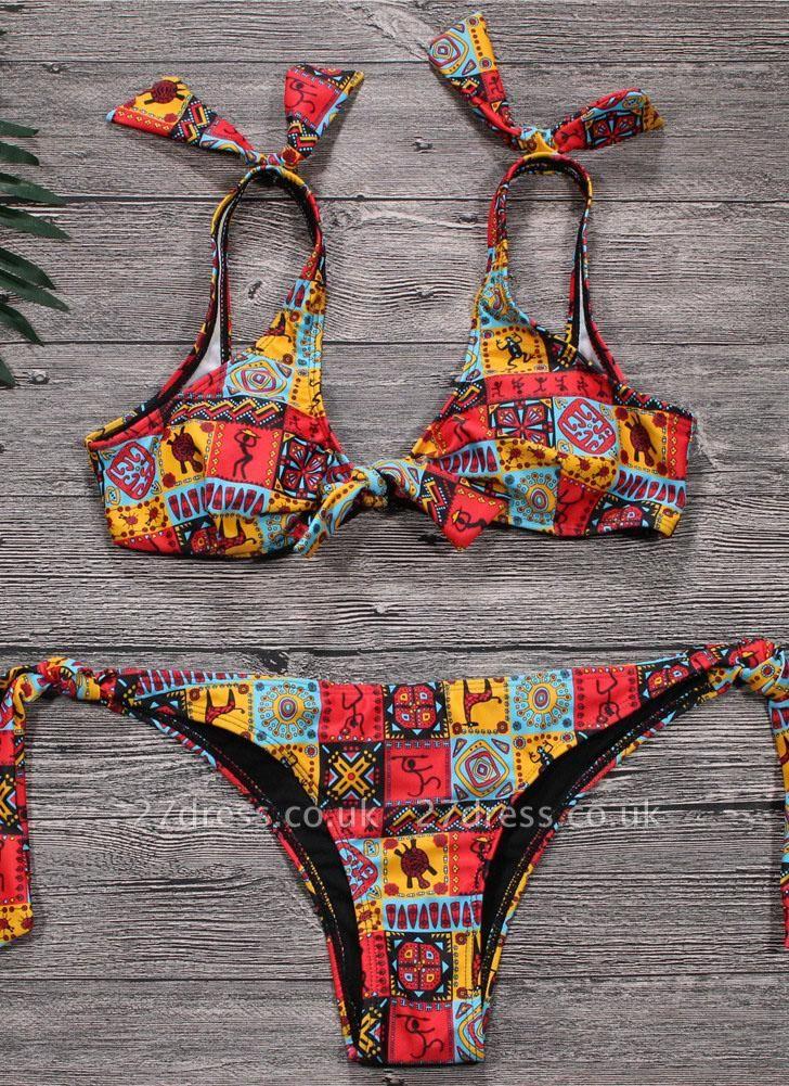 Geometric Print Bowknot Bandage Wireess Padded Sexy Bikini Set