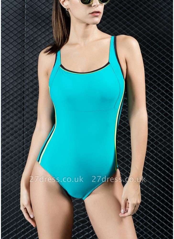 Women Sports One Piece Swimsuit Swimwear Backless Splice Racing Training Bathing Suit