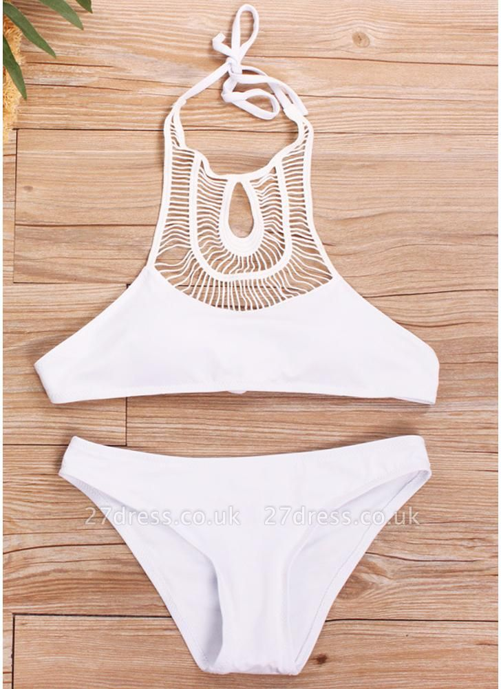 Women Hollow Halter Sexy Bikini Set Padding Backless Wireless Low Waist