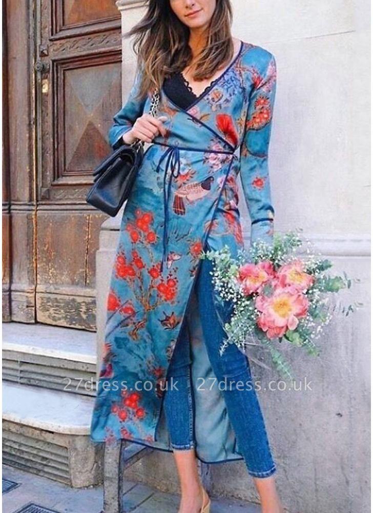 Vintage Women Kimono Floral Bird Print V Neck Tied Ethnic Oriental Outerwear