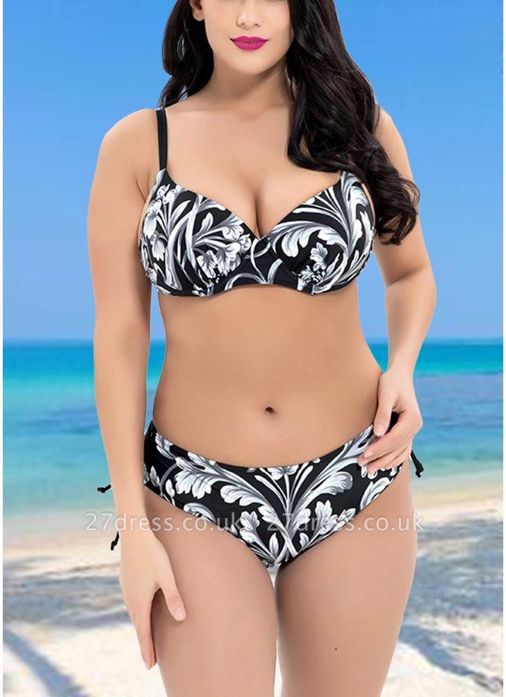 Plus Size Contrast Floral Print Underwire Triangular Sexy Bikini Set