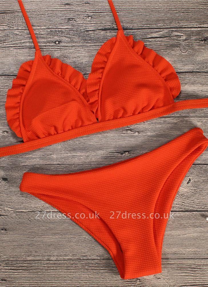 Women Sexy Bikini Set Push Up  Swimsuit Ruffle Low Waisted Padded Two Piece Swimwear Beach Wear