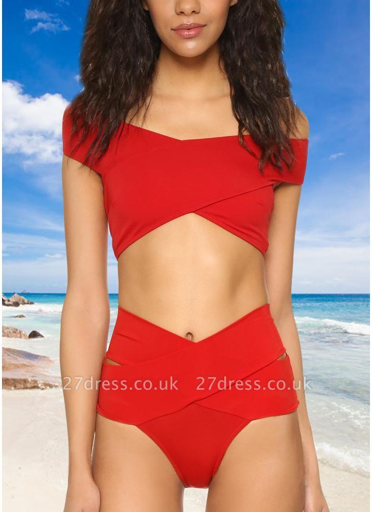 Women Sexy Bikini Set Cross Over Wireless Solid Swimwear Swimsuits Beach Wear Two Piece