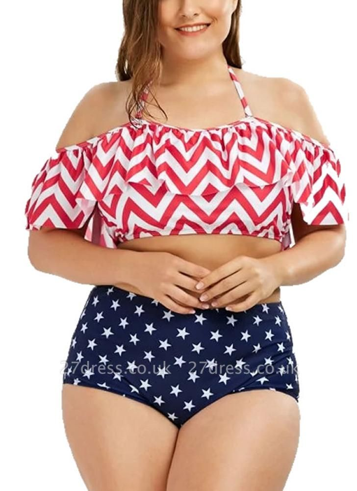 Plus Size Striped Halter Sexy Bikini Set