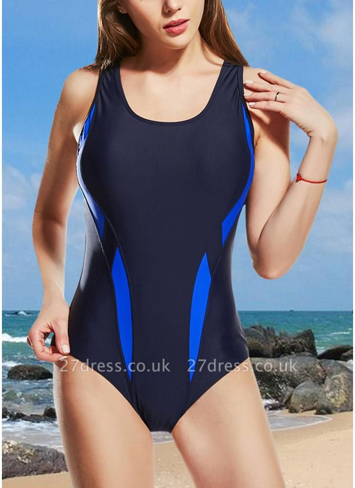 Women One-Piece  Color Splice Sleeveless Padding Wireless Swimwear Swimsuits