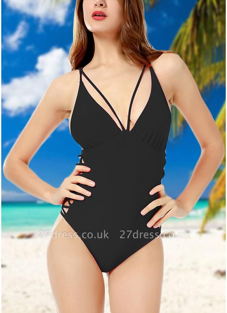 Crisscoss Bandage Backless Strappy Solid One-piece Swimsuit