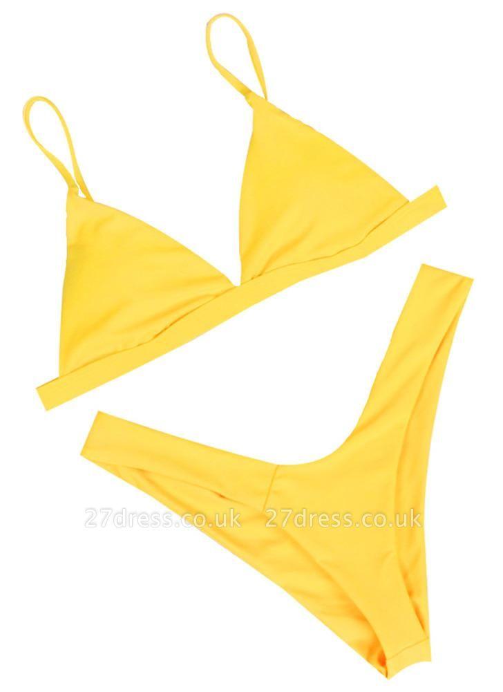 Women Thong Sexy Bikini Set Spaghetti Strap Two Piece Swimsuit Solid Bathing Suit