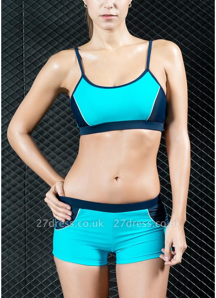 Sports Splicing Professional Racing Two Piece Swimsuit
