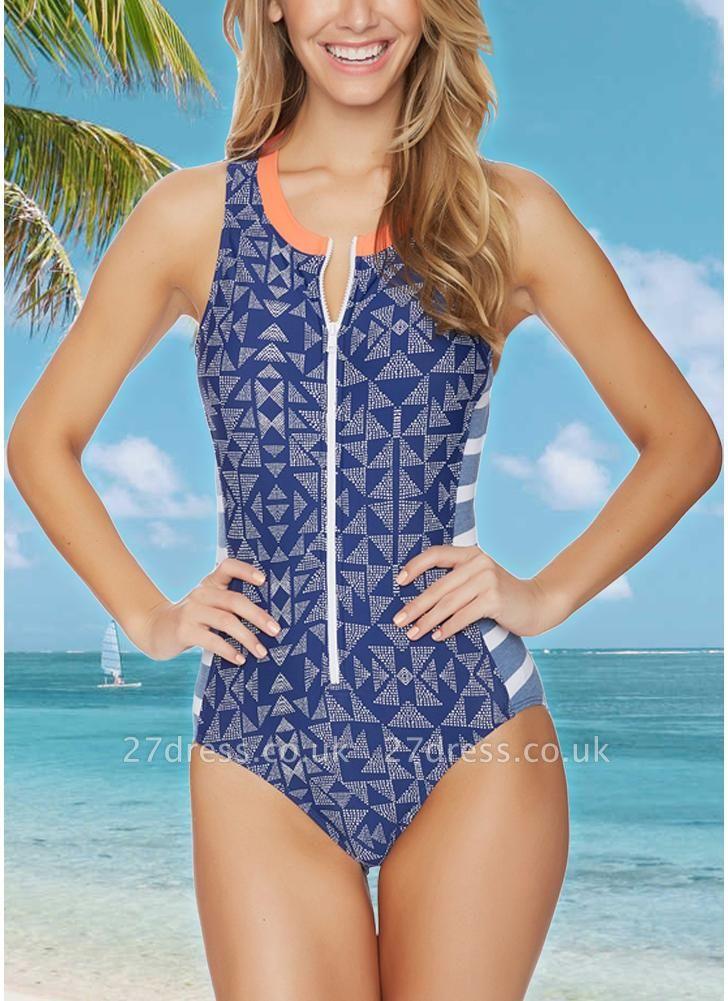 Women One Piece Swimsuit  Geometric Stripe Zipper Contrast Bodysuit Beach Wear Swimwear