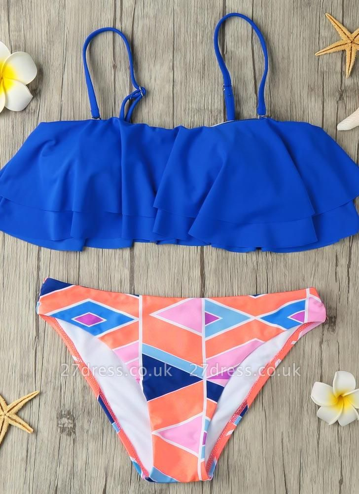 s Removable Strap Ruffled Padded Top Geometric Print Bottom Bandeau Sexy Bikini
