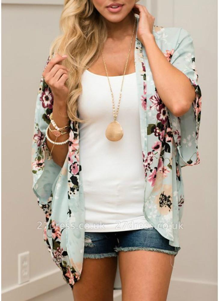 Summer Women Floral Chiffon Cardigan Open Front Half Sleeve Kimono