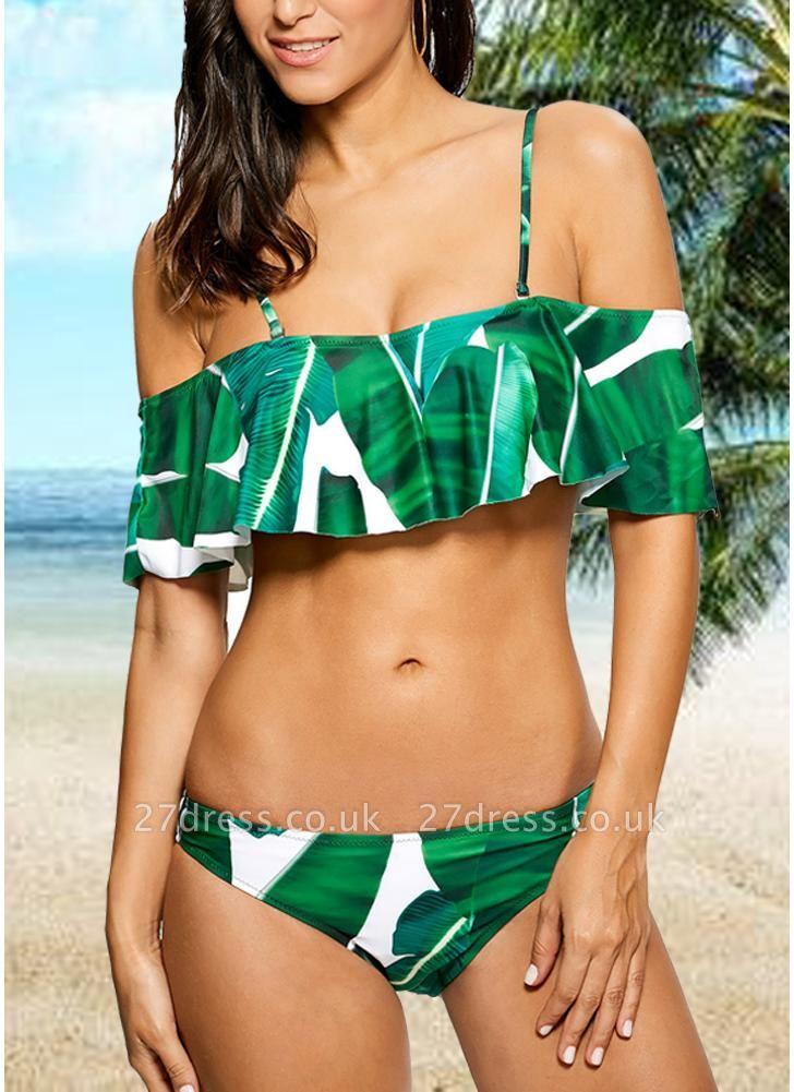 Women Sexy Bikini Set Tropical Leaves Print Ruffled Beach  Swimsuit Swimwear