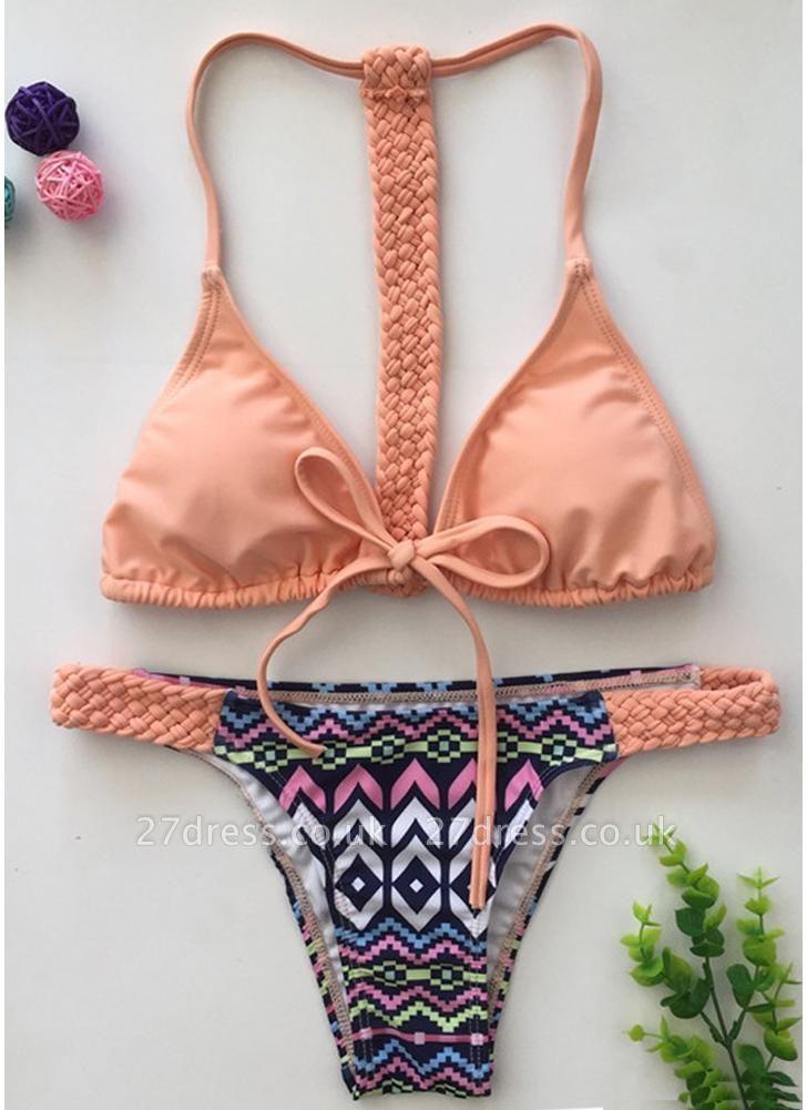 Women Sexy Bikini Set Vintage Print Braided Triangle Tie Front T Back Tanga