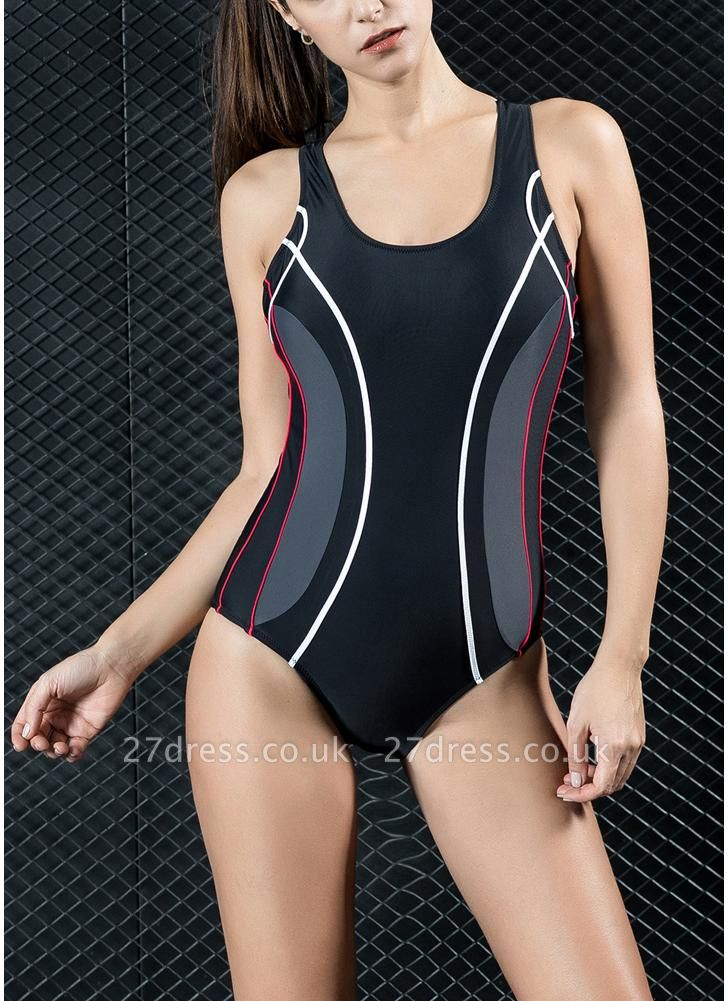 Women Professional One Piece Swimsuit Sports  Contrast Swimwear Swimming Suit