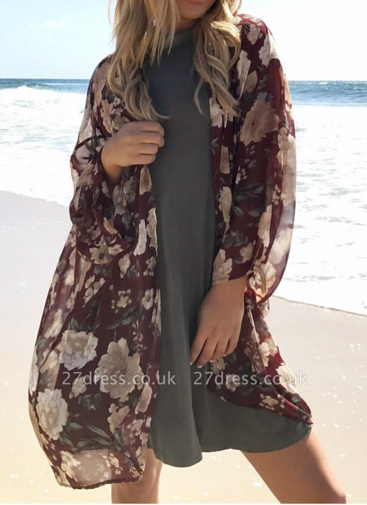 Women Long Beach Cover Up Chiffon Kimono